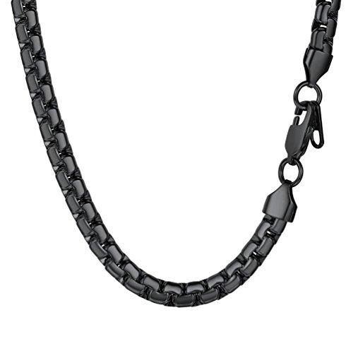 PROSTEEL Halskette Hochwertig Edelstahl Venezianierkette Box Kette 6MM Breite Herren Kette mit Karabinerverschluss, 61CM lang, Schwarz