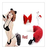 Z-one 1 Pop Cute Funny Cat Unique Ear Headpiece y Fox Silicone Tail Pluge Discoteca Fiesta de disfraces Cosplay Love Gift (Blanco y Rojo)