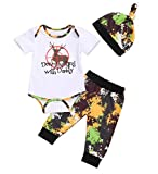 MA&BABY Newborn Infant Baby Boy Girl Famliy Saying Romper+ Pants+Headband+Hats Outfits (Deer Hunting-Short Sleeve, 12-18 Months)