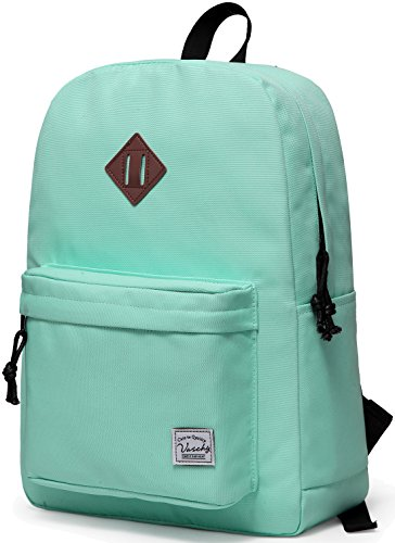 Lightweight Backpack for School, VASCHY Classic Basic Water Resistant Casual Daypack for travel with Bottle Side Pockets (Aqua)