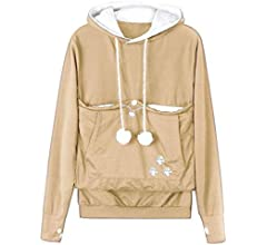 Dehots Womens Hoodie with Cats Dog Bag Cat Sweatshirt Pullover Hoodie Hooded Cat Sweater Bag Long Sleeve Autumn Winter Large Sizes
