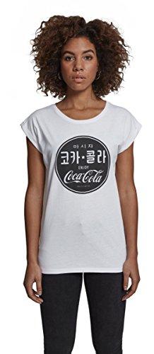 MERCHCODE Damen Ladies Coca Cola Chinese Black Tee T-Shirt, White, S