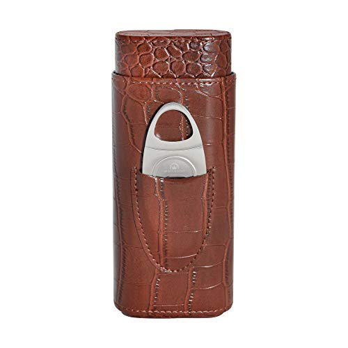 69Bourbons Leather Cigar Case - 3-Finger Tobacco Holder for Cigars Up to 52 Ring Gauge - Portable Pocket Humidor with Stainless Steel Cigar Cutter & Crocodile Skin Pattern - Gift for Smokers - Brown