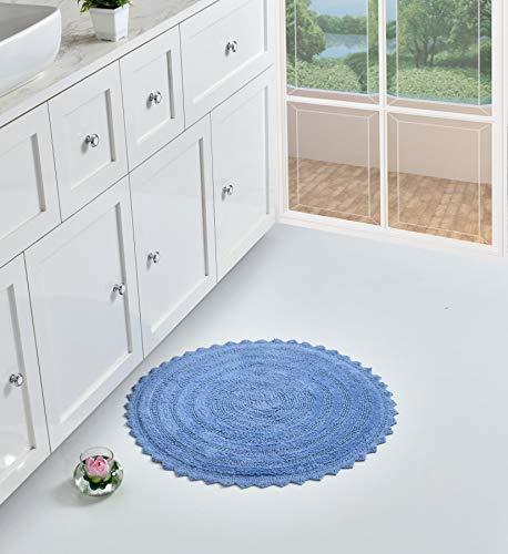 Sheen Decor Alfombra de baño, 100% algodón, reversible, de tacto lujoso, extra absorbente y suave, ideal para sala de estar, dormitorio, ducha, baño y aseo, 60 cm, redonda, color azul