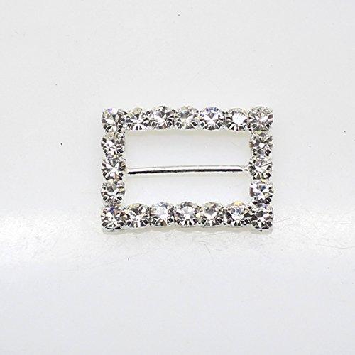 Lot de 20 22 mm x 18 mm Rectangle en forme de strass Boucle coulissant pour mariage Invitation Lettre