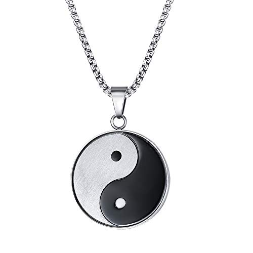 Collar De Encanto De Símbolo De Yin Yang Chino, Colgante Ajustable, 23 Pulgadas De Acero Inoxidable Cadena De Enlace De Resistencia A La Oxidación Fácil De Mantener, para Amante Amigo Unisex