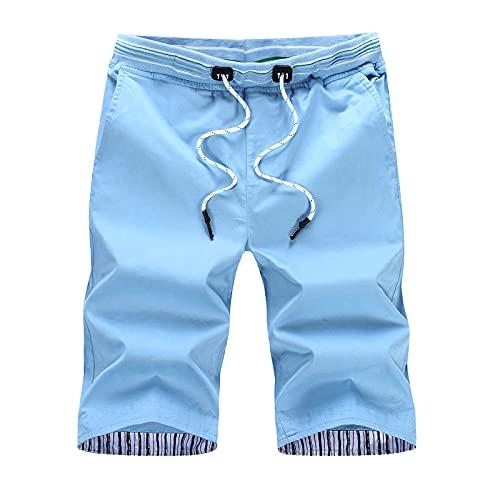 Katenyl Pantalones Cortos Rectos Sencillos para Hombre Tendencia de Moda Tallas Grandes Cintura elástica Casual Todo-fósforo Trabajo de Oficina Pantalones Cortos Regulares XL