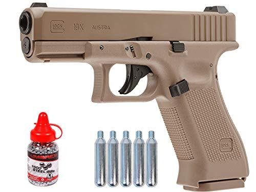 Wearable4U Glock 19X GEN5 Air Gun with 5x12 CO2 Tanks and Pack of 1500ct Steel BBS Bundle (Tan) (+CO2 +BBS)
