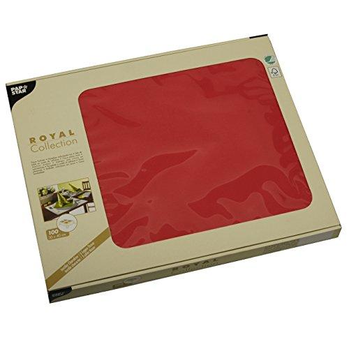 Papstar, 100 Sets de Table, Tissue Royal Collection Rouge 30 cm x 40 cm, 81897