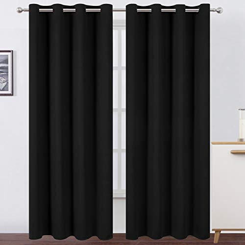 LEMOMO Black Thermal Blackout Curtains/52 x 95 Inch/Set of 2 Panels Room Darkening Curtains for Bedroom