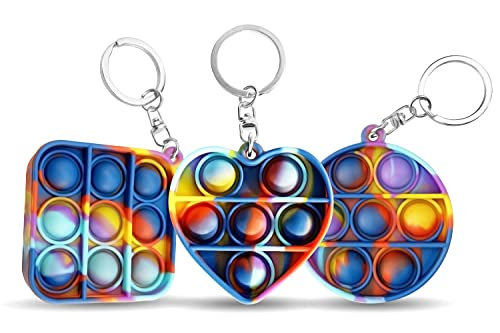 Echodry Fidget Keychain – 3pcs Bubble Sensory Fidget Set – Premium Stress Relief Toys for Kids and Adults – Soft Silicone Bubble Sensory Toys – Mini Popping Bubble Sensory Toy - Multicolor