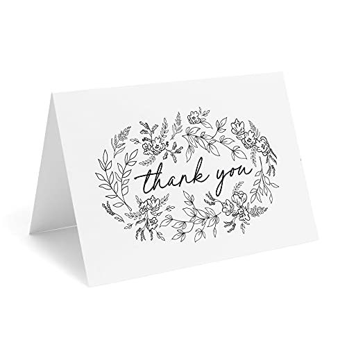 Bliss Collections Black Floral Thank You Cards with Kraft Envelopes, Pack of 25, 4x6 Folded, Tented, Bulk, Perfect for: Wedding, Bridal Shower, Baby Shower, Birthday, or just to say thanks!