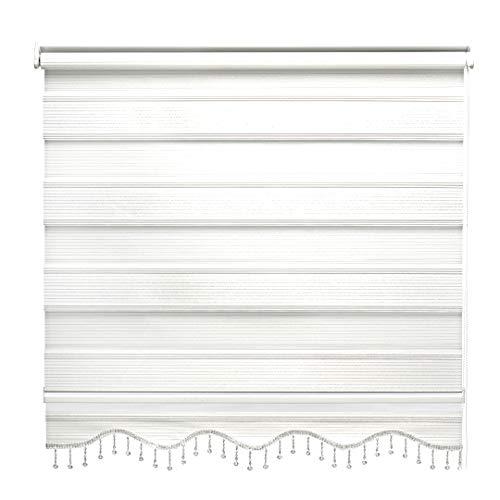 Doppelrollo Weiß Silber Glitzer Duorollo Klemmfix Gardinen für Fenster Tür Rollo 60 x 200 cm