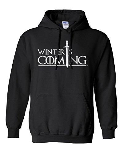 City Shirts Winter is DT Sweatshirt Hoodie (Large, Black)