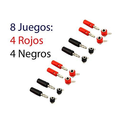 8 Juegos Conectores Tipo Banana 8 Conectores Macho y 8 Conectores Hembra 4mm Rojo y Negro