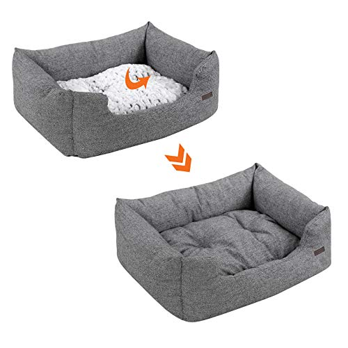 SONGMICS Hundebetten innenkissen Beidseitig Verwendbar mit unten einen Anti-Rutschboden M Außenmaße :80 x 60 x 26 cm PGW26G - 4