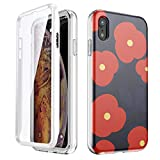 GOLINK Full Body Shockproof Protective Case with Built-in Screen Protector for 6.1 inch iPhone XR(Red Blue Floral)