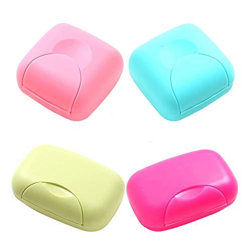 RETON 4 Unids Portátil Caja de Contenedor de Jabón de Color Caramelo Organizador Holder Organizador para el Hogar, Baño, Senderismo, Viajar, Acampar y Otras Actividades al Aire(2 Pequeño+2 Grande)