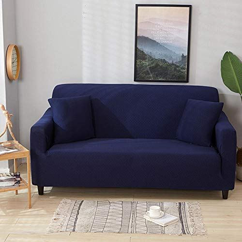 HXTSWGS Stretch rutschfeste Couchbezug,Waterproof Sofa Cover, Removable and Washable Sofa Chair Protective Cover, Sofa Cover Furniture Non-Slip Protective Cover-Navy Blue_190~230cm