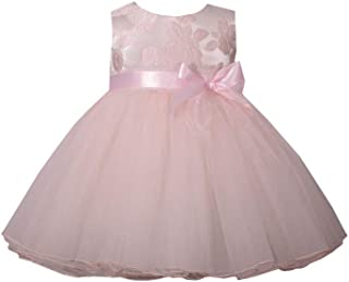 Pink Baby Dress with Bow, Sleeveless Jacquard Special Occasion Formal Dress for Baby and Toddler