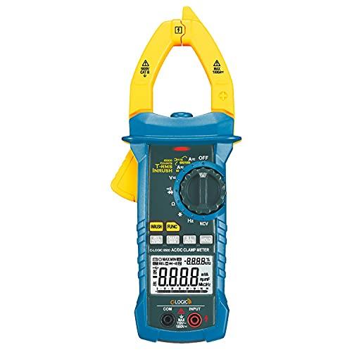 C-LOGIC 8500 Pinza Amperimétrica Digital Profesional TRMS Corriente AC/DC/Inrush 1000A Tensión AC 750V DC 1000V 6000 Cuentas NCV y Luz de Trabajo Resistencia Capacitancia Frecuencia CAT IV
