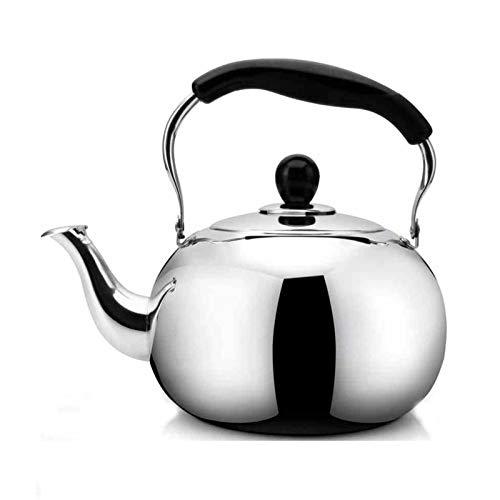 tea kettle Bouilloire en Acier Inoxydable, Poignée Anti-brûlure Connexion par Rivet Théière Universelle pour Divers Poêles (Couleur : Silver, Taille : 5L)