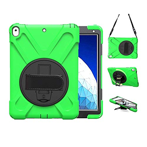 TSQ iPad Pro Case 10.5 2017 with Strap | iPad Air 3 Cases 2019 Heavy Duty Shockproof | Dropproof Durable Hard Rugged Protective Silicon Case with Stand Hand Shoulder Strap for iPad 10.5 Inch, Green