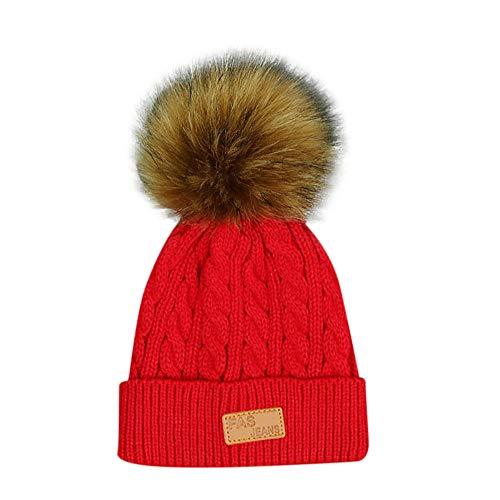 FeiliandaJJ Neugeborene Baby Mützen Mädchen Jungen Haarballen Wolle Strickmütze Baby Hüte Warm Baby Wintermützen (rot)