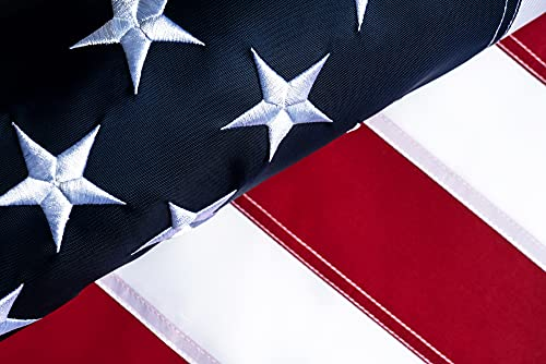 American Flag 3x5 FT Outdoor Heavy Duty - Embroidered Star Sewn Stripes Brass Grommets - Fade Resistant Tough Durable US Flags 210D Nylon - Vivid Color Indoor Premium USA Large - Double Stitched Original Made In USA