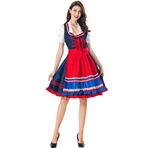 BEESCLOVER Vrouwen Oktoberfest Beierse Stijl Dirndl Wit Shirt+Dress+Schort Set