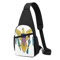 バージン諸島の旗バージンの国旗スリングバッグフェード耐性胸部ショルダーバックパック防水ファニーパックしわ耐性胸バッグ屋外クロスボディバッグ男性女性十代の若者たち