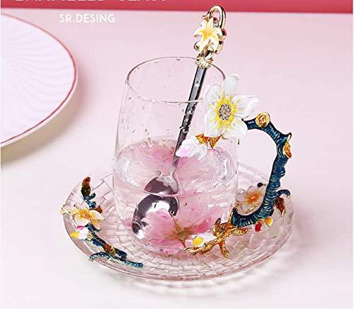 VYEKL Bunte Glas süße Blume Teetasse mit Kaffeetasse mit Mund 320ml 2 Packungen