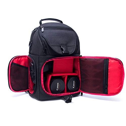 Xhtoe Camera Rugzak Waterbestendig Anti-diefstal Schokbestendig Reizen Sling Bag Rugzak Voor Camera Lens Statief Video Licht Stand Zwart Gecapitonneerde Camera Rugzak Rugzak