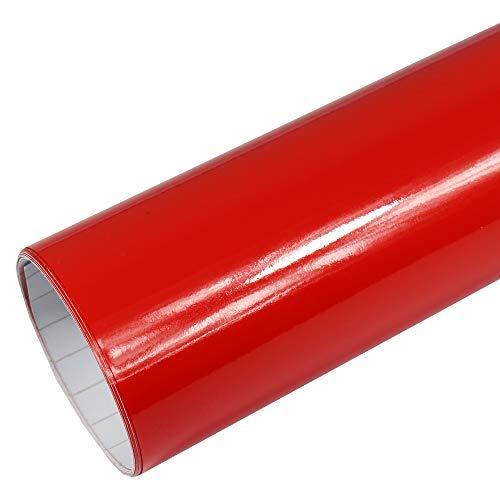 Rapid Teck® 5,26€/m² Premium – Glanz Rot 1m x 1,52m Auto Folie Blasenfrei mit Luftkanälen für Auto Folierung und 3D bekleben in Matt Glanz und Carbon Autofolie