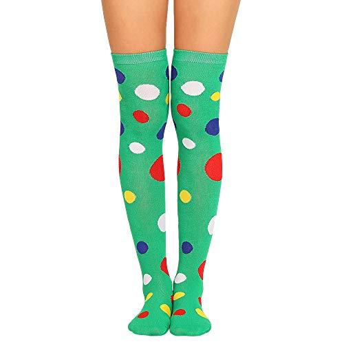COZOCO Frauen Sexy Oberschenkel hohe Socken über dem Knie Socken farbige Punkte lange Socken Mode Baumwollstrumpf(grün)