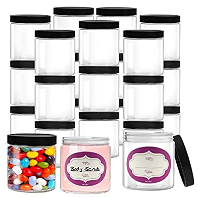 DilaBee 24-Pack 8 Ounce Empty Large Elegant Refillable Clear Plastic Jars with Lids and labels, Round Containers For Slime, Beauty Products, Cream, Scrubs, Bath Salt, Face Makeup, Cosmetic and Lotion