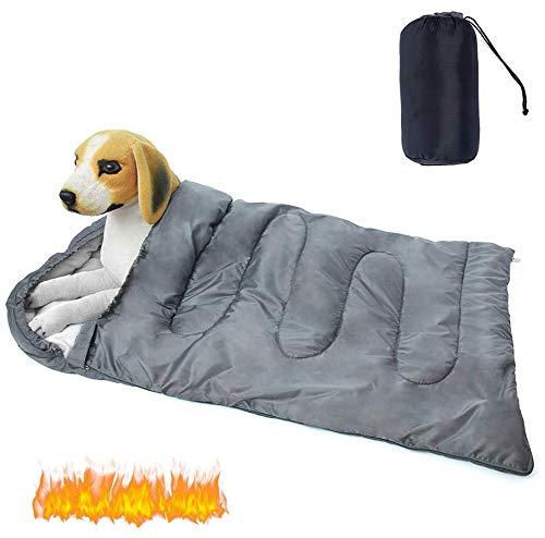Saco de dormir para perros EASJOY, impermeable, cálida cama para mascotas con bolsa de almacenamiento para interior, exterior, viaje en coche, camping, senderismo, mochilero(43.3''L x 27.6''W)