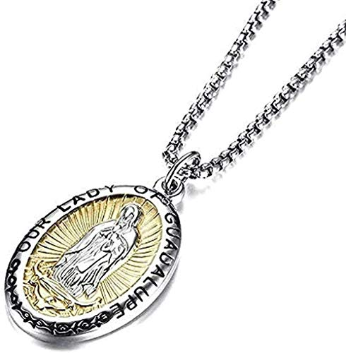 YUNQIYZH Co.,ltd Our Lady of Guadalupe Necklace Virgin Mary Pendant Necklace on Stainless Steel Medal for Men and Women Jewelry Gift Necklace Gift Pendant Necklace Girls Boys Gift