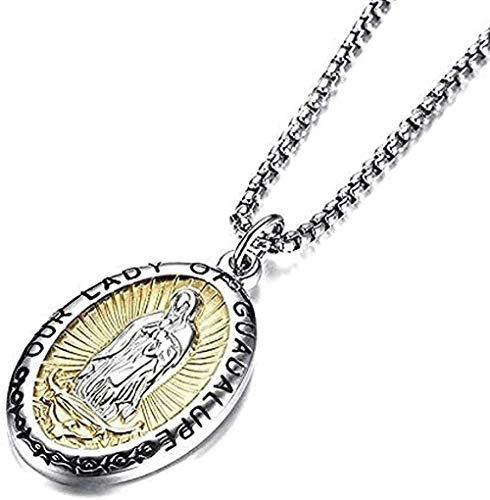 Collar de Nuestra Señora de Guadalupe Collar con colgante de Virgen María en medalla de acero inoxidable para hombres y mujeres Joyería Collar de regalo Collar con colgante de regalo Regalo para niñas