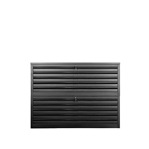 Certeo Flachablageschrank für DIN A0 | 10 Schubladen | HxBxT 105 x 140 x 95 cm | Schwarz | Planschrank Grafikschrank Architektenschrank Zeichnungsschrank