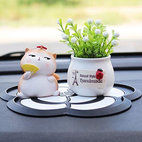 CKH Auto-versieringen leuke hars Court kat en bloempot auto decoratie creatieve hoofddecoraties cadeau