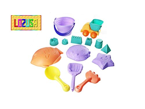 LOZUSA Beach Sand Toys for Kids Indoor and Outdoor Play Set for Children Boys and Girls 14 Pieces Fun Beach Toys for Ages 1 Year Up