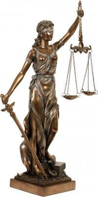 Figura Decorativa de la Dama de la Justicia, Color Bronce
