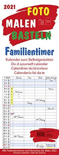 Foto-Malen-Basteln Familientimer 2021: Familienplaner mit 4 Spalten als Foto-kalender zum Selbstgestalten. Familienkalender mit Ferienterminen und festem Bastelpapier.
