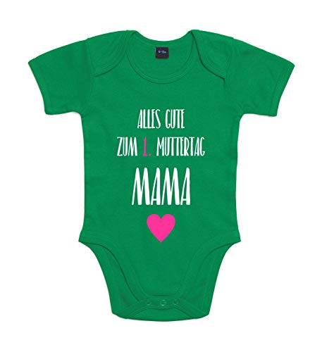 Shirt-Panda Baby-Body Zum 1. Muttertag Für Jungen Und Mädchen Mit Motiv Spruch Alles Gute zum ersten Muttertag Kelly Green 6-12 Monate