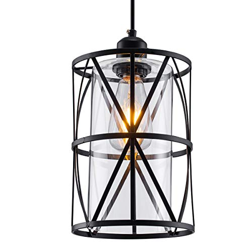 SHENGQINGTOP Black Industrial Metal Pendant Light, Cylindrical Pendant Light with Clear Glass Shape, New Transitional Hanging Lighting Fixture for Kitchen Island Counter Dining Room Bedroom Restaurant