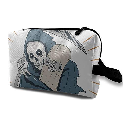 Toiletry Bag for Women Skateboard Grim Reaper Multifuncition with Zipper