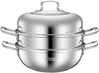XIN Cocina Olla Vapor Vaporera Multifunción Vapor Pan Set 2 Nivel de cocción al Vapor Pot Placa de inducción General de los Gases de la Olla (Color : A, Size : 30cm)