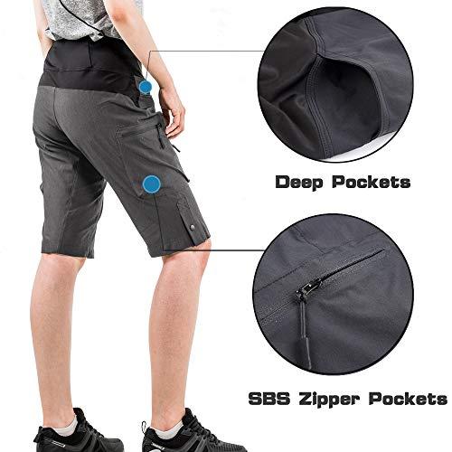 Cycorld MTB Hose Damen Radhose, Schnelltrocknend Mountainbike Hose mit Innenhose und hochwertigem Sitzpolster, Atmungsaktiv MTB Shorts Fahrradhose Damen Outdoor Bike Shorts (2XL,Dunkelgrau) - 6