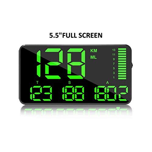 BAN SHUI JU MINSU GUANLI Velocímetro GPS De 5,5 Pulgadas Pantalla De Velocidad C90 KM/H mph para Coche, Bicicleta, Motocicleta, GPS, Alarma De Exceso De Velocidad, Pantalla Hud fácil de Instalar.